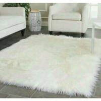 Karpet bulu putih 130x100cm asli