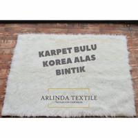 Karpet Bulu Gimbal Putih alas antislip