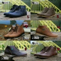 Sepatu Boots Casual Pria Black Master Model Brodo Semi Kulit Bagus For