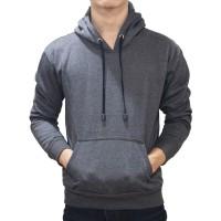 (PROMO) Hoodie Jumper Sweater Polos Abu-Abu Tua - Dark Grey - Abu-abu, M