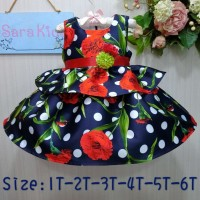 FN1339. DRESS SARAKIDS KUTUNG NAVY FULL FLOWER POLKA PG TALI RED
