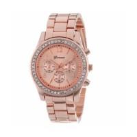 Jam Tangan Wanita Geneva Crystal Embellished Shiny - Rose Gold 632647