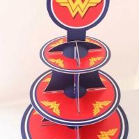 Cupcake stand wonder woman logo / Cupcake 3 tier wonder woman logo