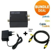 Paket Kabel Toslink 1.5M & CONVERTER Optic Digital to RCA Analog Audio