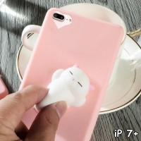 FOR IPHONE 7 PLUS - SQUISHY CUTE CAT SQUEEZE SOFT SILICONE CASE CASING