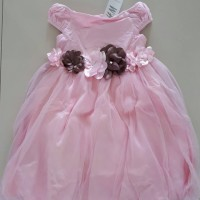 SALE DRESS ANAK PINK GAUZE FLOWER