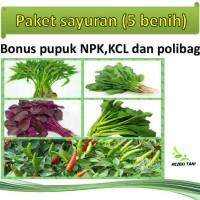 GRATIS ONGKIR paket benih sayuran(5jenis)free pupuk NPK,KCL dan poliba