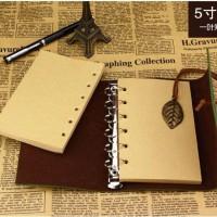 Refill Isi Buku Catatan Binder Kulit Retro Leaf Kertas A6 - Putih