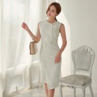 Buttoned Lapel V Neck Chic White Dress
