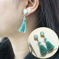 Anting Korea Green Turquoise Tassel Earrings/Anting Cantik Murah