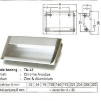 Handle Tanam Tarikan Aluminium Kom Pintu Sliding TA-41 96mm Huben