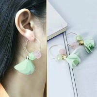 Anting Korea Tassel Silk Yarn Acrylic Color Veil Long Earrings