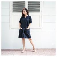 Mini Dress Casual Black Hitam Lengan Pendek Katun