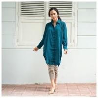 Baju Tunik Kemeja Wanita Lengan Panjang Hijau Emerald atau Hitam