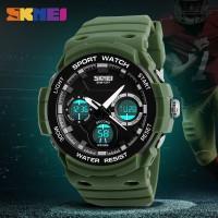 Jam Tangan Pria Sport Dual Time Original SKMEI 1247 Anti Air - Green