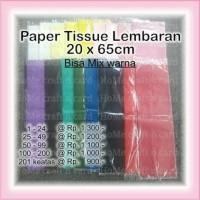 lembaran 20x65cm paper tissue / kertas tisu / buket / pom / homecraft