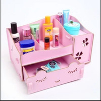 Rak kosmetik bahan kayu desktop storage cermin make up kuas - HPR028
