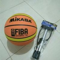 BOLA BASKET FIBA MIKASA KARET DAN POMPA BESI