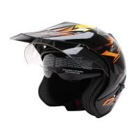 WTO Helmet Pro-Sight Cross Helm Half Face - Hitam Orange