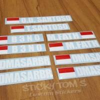 Stiker Nama dan Bendera Indonesia custom untuk kaca mobil