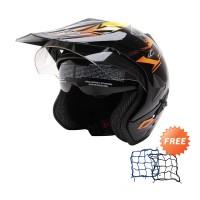 WTO Helmet Pro-Sight Cross Hitam Oren Helm Half Face-Free Jaring Helm