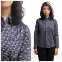 Printed Shirt Kemeja Wanita Lengan Panjang Polkadot Katun Biru Navy