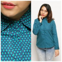 Kemeja Atasan Lengan Panjang Wanita Motif Hijau Biru Kotak-kotak