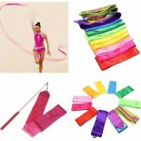 4M Dance Ribbon Multi-color Streamer Training Ballet Gymnastic Rod Art - Biru
