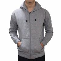 Murah !!! Jaket Sweater Polos Hoodie Zipper/Resleting Abu Muda