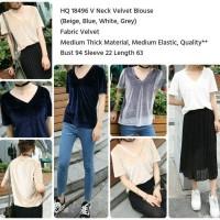 HQ 18496 V Neck Velvet Blouse - Casual Top - Baju Cewek Fashion Import