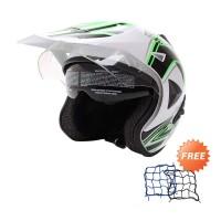 WTO Helmet Pro-Sight Cross Putih Hijau Helm Half Face-Free Jaring Helm