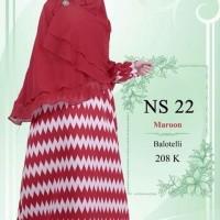 Gamis Nibras Syari NS22 Marun Baloteli Motif Tribal Busui Model Payung