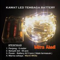 Lampu Natal LED Kawat Tembaga Warm White Batre/Baterai A2 5 Meter