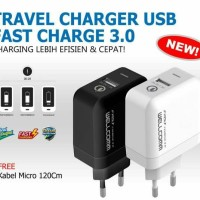 35 MENIT | Travel Charger USB Fast Charge 3.0 Wellcomm | Fast Charging