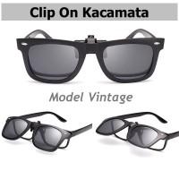 Vintage Clip on Kacamata Polarized - klip on - sun glasses - anti UV