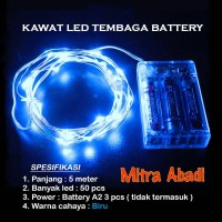 Lampu Natal LED Kawat Tembaga Biru/Blue Batre/Baterai A2 5 Meter