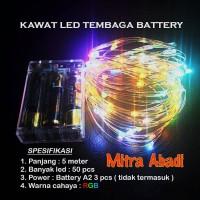 Lampu Natal LED Kawat Tembaga RGB Batre/Baterai A2 5 Meter