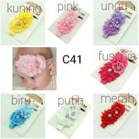 bando kombinasi 3 jenis bunga untuk bayi dan anak perempuan bandana