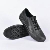 sepatu casual AP Star by AP Boots bahan Karet PVC full black hitam