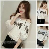 [sabrina rose black RO] blouse wanita katun rayon putih