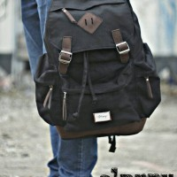 tas ransel kanvas black casual pray