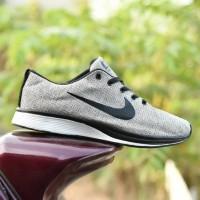 Sepatu Sport Nike Flyknit Racer Grade Ori / Cream Hitam / Running Pria
