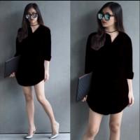 [Shinta pj black RO] kemeja wanita katun rayon hitam