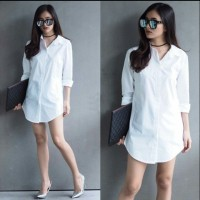 [km shinta pj putih RO] kemeja wanita katun rayon putih