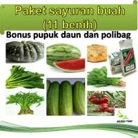 Paket benih sayuran buah 11 jenis benih (bonus pupuk daun dan polibag)