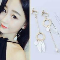 Anting Korea Tassel Earrings Elegant Pearl Shell No Needle Import