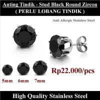 Anting Tindik Cowok Pria - Stud Black Round Zircon