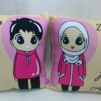Bantal couple (uk.40x40 cm)/bantal foto/bantal custom/souvenir/kado