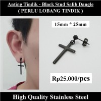 Anting Tindik Cowok Pria - Black Stud Salib Dangle