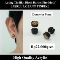 Anting Tindik Cowok Pria - Black Barbel Fire Motif